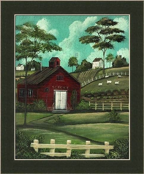 Little red schoolhouse by aleta blackstone americana country landscape framed art print wall decor