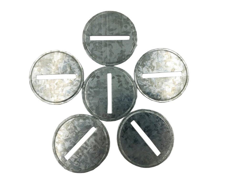 Galvanized Metal Coin Slot Bank Lid Insert for Mason, Ball, Canning Jars (6pack, Regular Mouth) KC BLLI-01
