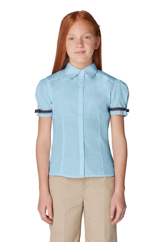 French Toast Little Girls' Toddler Short Sleeve Ribbon Bow Blouse, Light Blue, 4T