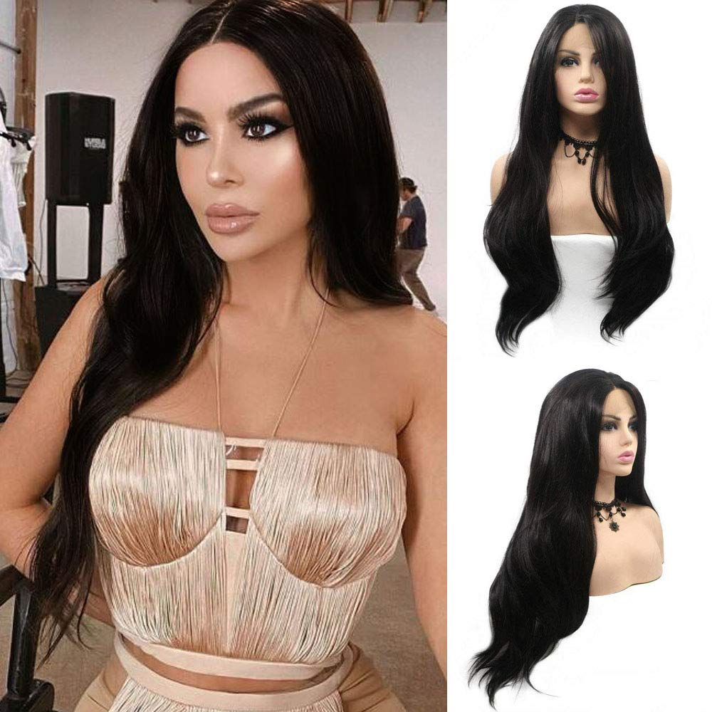 Natural Black Lace Front Wigs for Black Women Long Wavy Realistic Hairline 150% Density Synthetic Wig with Baby Hair Glueless Heat Resistant Fiber Hair Replacement Wigs Festival Holiday Cosplay Makeup