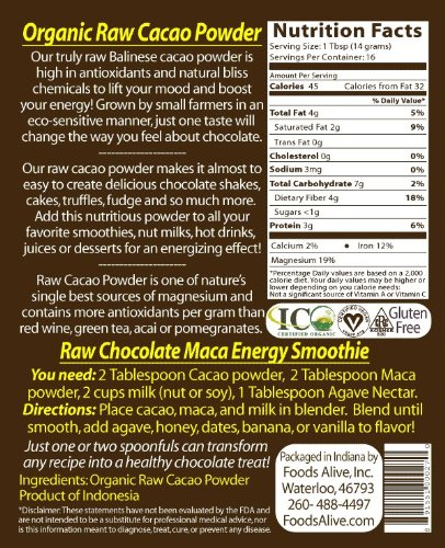 Foods Alive Organic Cacao Powder, 8 Ounce  Bags (Pack of 2) by Foods Alive (Image #2)