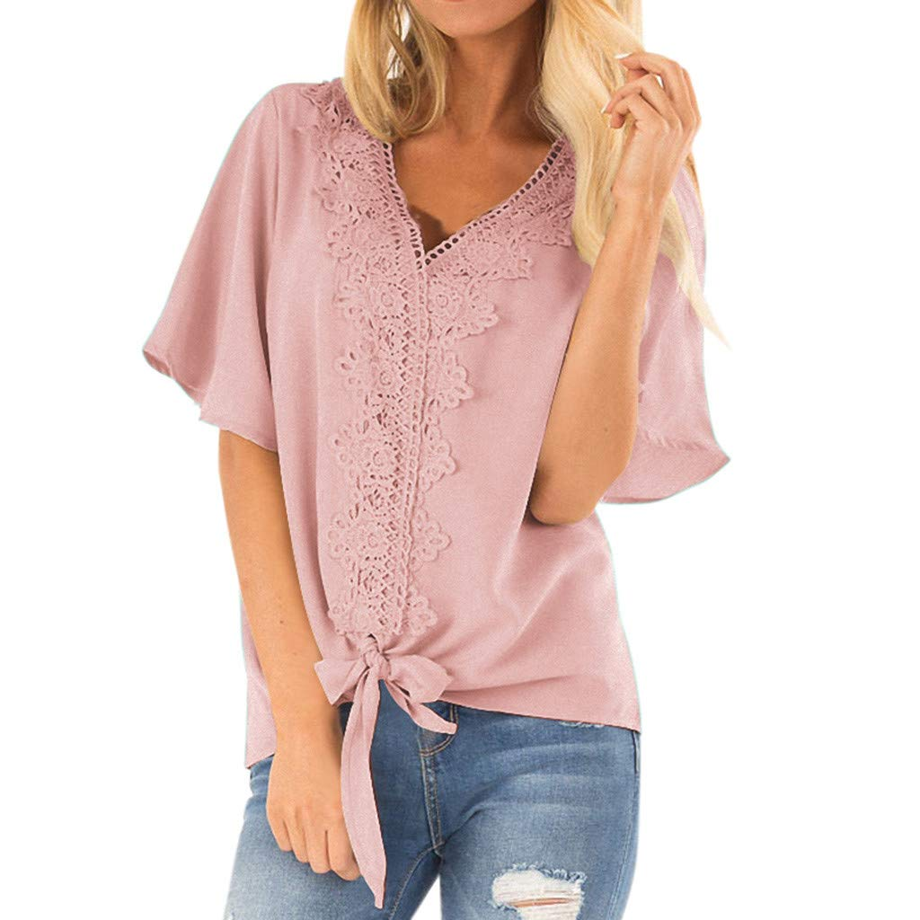 Blouse for Womens Waffle Knit Tunic,Fashion Summer Short Flare Sleeve Bow Shirts Casual V-Neck T-Shirt Loose Tops