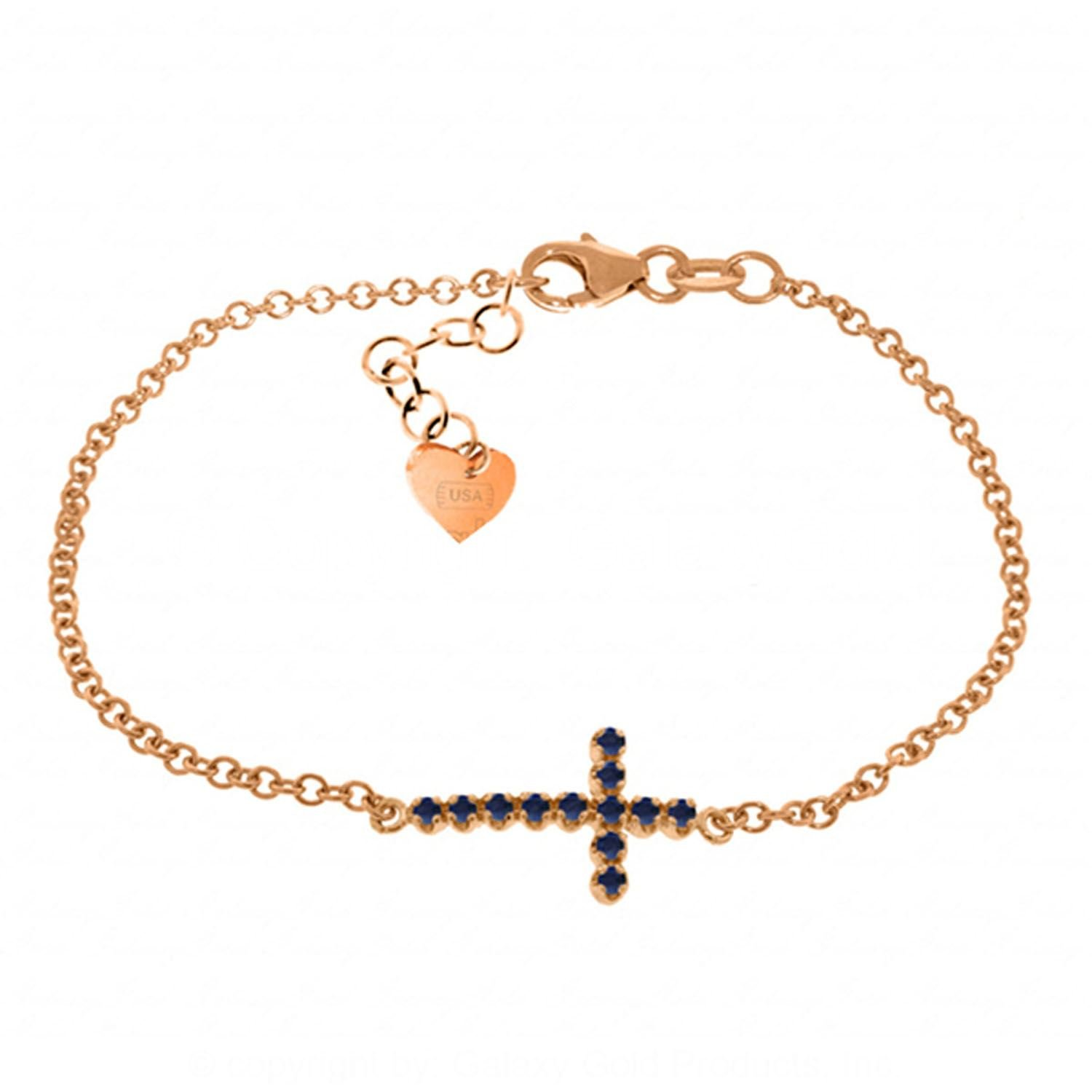 ALARRI 0.3 CTW 14K Solid Rose Gold Cross Bracelet Round Sapphire Size 7 Inch Length