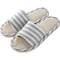 Zapatillas de Interior Antideslizantes de Lino a Rayas para Hombre y Mujer