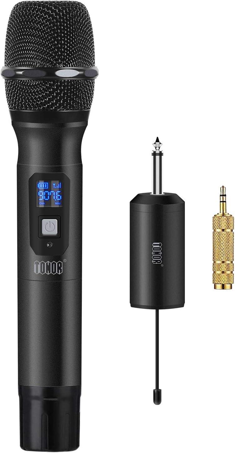 TONOR Micrófono Inalámbrico de Mano 25 Canales UHF con Mini Receptor Portable 1/4
