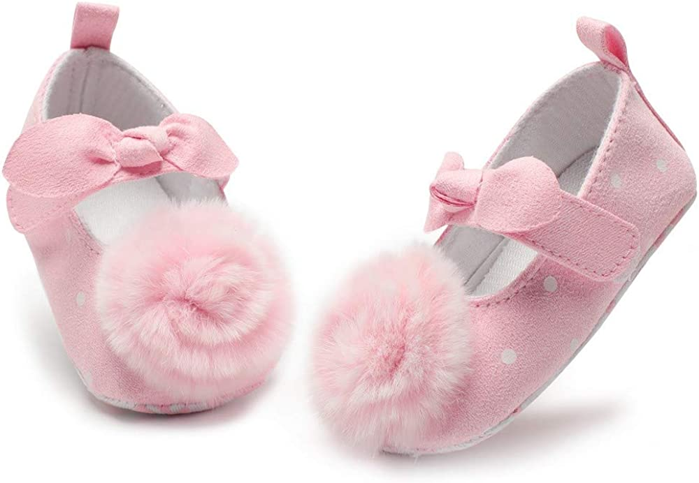 Voberry@ Baby Girls Mary Jane Flats Sneakers Bowknot Hairball Flock Soft Sole First Walker Shoes