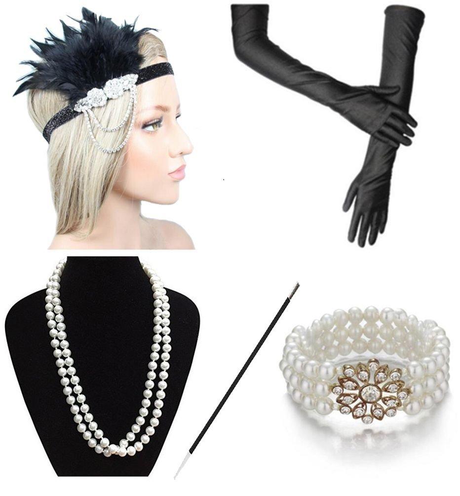 Women 1920s Headband Earring Necklace Glove Cigarette Holder Costume Accessories