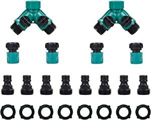 JUSONEY 2 Way Garden Hose Splitter - Hose y Splitter with 2 Valve, Male and Female Hose Quick Connector Perfect for Faucet, Hose and 3/4