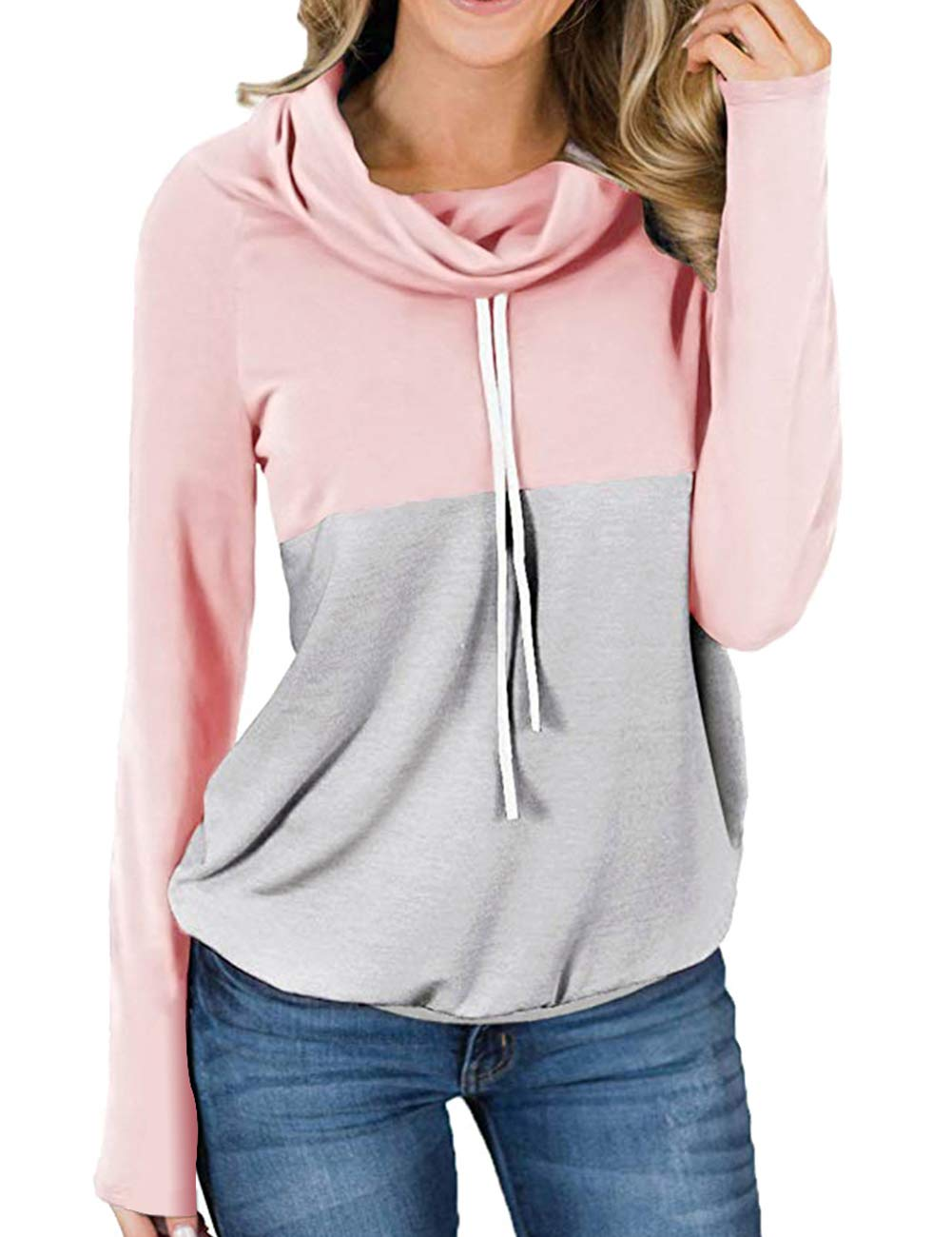 Promaska Pullover Sweatshirts for Women Long Sleeve, Juniors Casual Cowl Neck Hoodies Tops with Pockets Banded Hem Patchwork Cotton Tunic Shirts Pink L