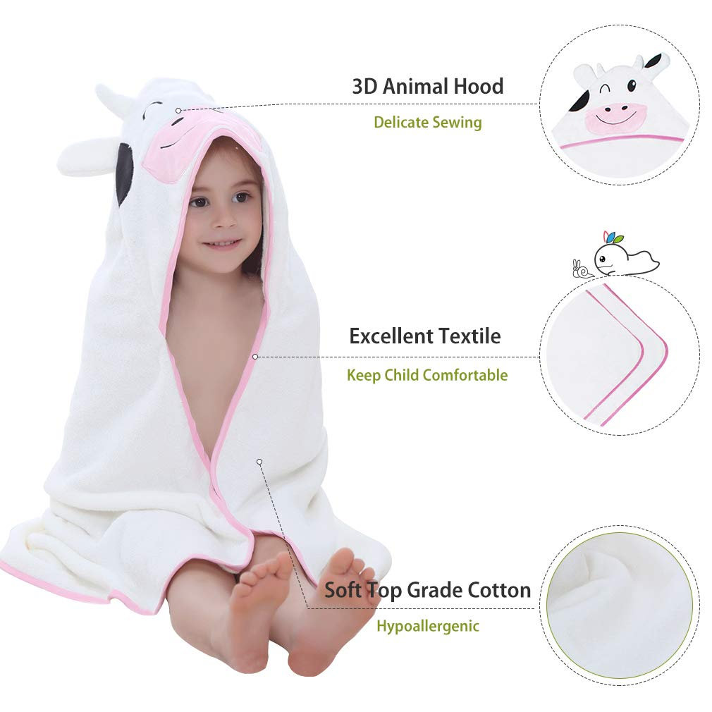 Suit for 1-6 Years Boys and Girls 90cm*90cm Cotton Animal Face Beach Blanket MICHLEY Baby Hooded Bath Towel for Kids Purple