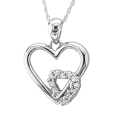 Amazon 10k white gold heart diamond pendant necklace 008 10k white gold heart diamond pendant necklace 008 carat aloadofball Choice Image