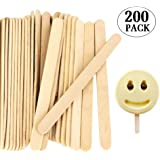 Pack of 200 Popsicle Sticks, 4.5 Inch Wooden Crafts Ice Cream Sticks for Ice Pop & DIY Crafts by Acerich