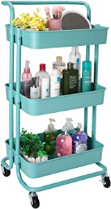 BOMKEE Rolling Utility Cart 3-Tier Storage Shelves Rack Mobile Organizer Kitchen Basket Trolley Service Handcart with Lock Wheels for Bedroom, Bathroom, Kitchen, Office (ABS Teal)