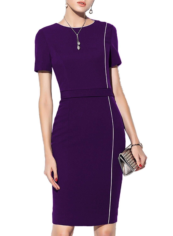 WOOSEA Women's Short Sleeve Colorblock Slim Business Pencil Dress (Purple, Small)