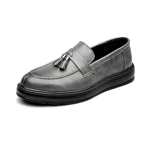 Zapatos de Cuero para Hombres Negocios PU Mocasines Slip-on clásicos Borlas Colgantes Decoración Suela Oxfords!: Amazon.es: Zapatos y complementos