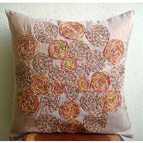Rust Pillow Covers 16x16 inches, Designer Light Rust Pillows Cover, Colorful Spiral Jute Pillows Cover, 16''x16'' Pillow Covers, Square Silk Pillows Cover, Floral Contemporary Pillow Cases-Spring Dance by The HomeCentric (Image #3)