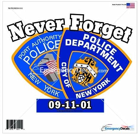 Amazon.com: 911 Memorial Decal: Nunca olvides Policía ...