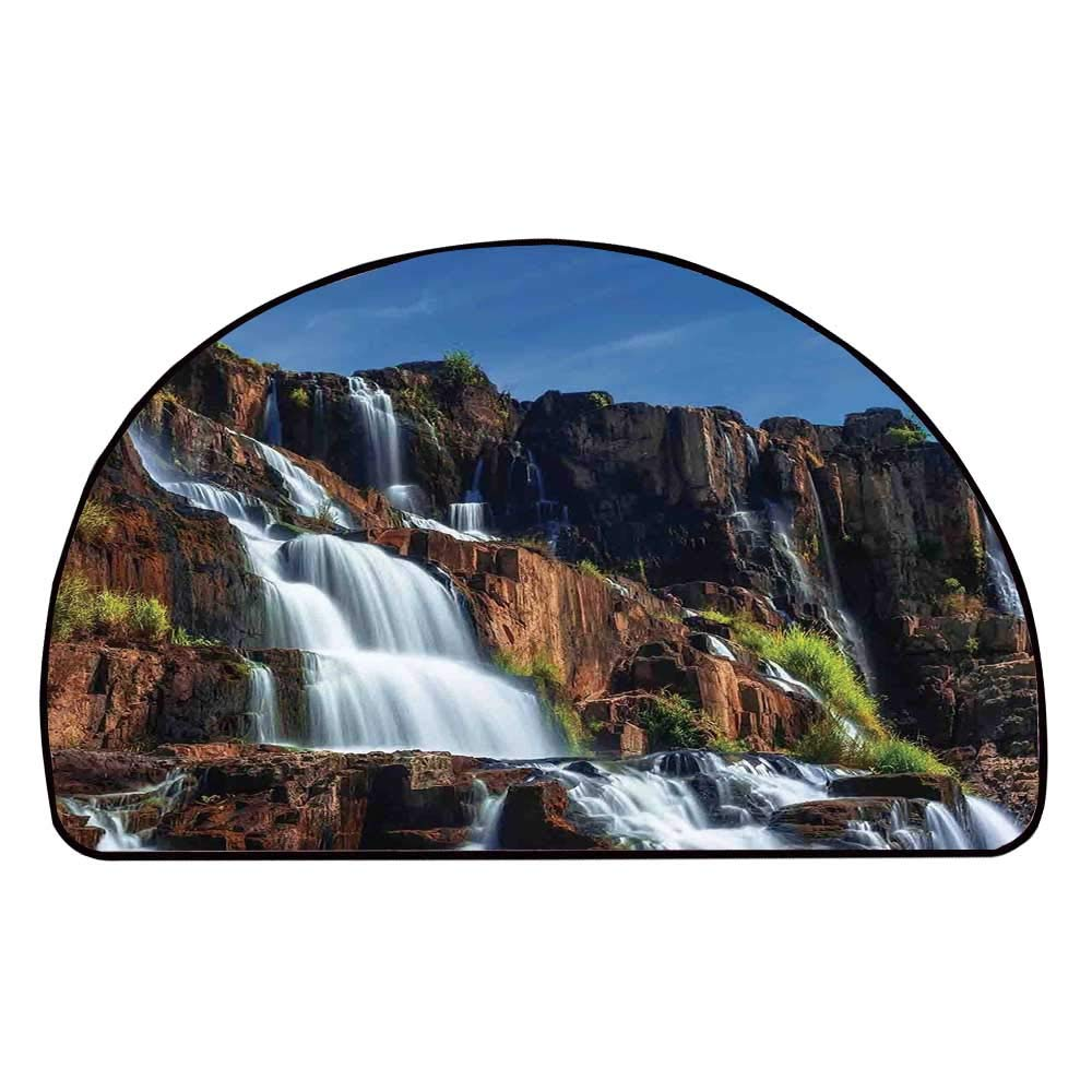 C COABALLA Rainforest Decorations Comfortable Semicircle Mat,Pongour Waterfall Exotic Asian Natural Beauty Landscape Mountain Rocks Print for Living Room,11.8'' H x 23.6'' L