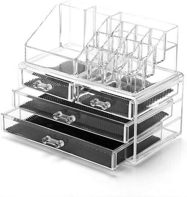 Dawoo Mesa De Exhibición De Soporte De Almacenamiento De Organizador De Maquillaje De Acrílico Transparente para Soporte De Set De Cosméticos, Joyería (2 Capas)