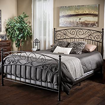 cecelia king size iron bed in dark bronze