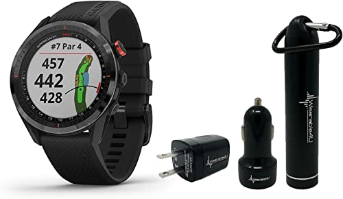 Garmin Approach S62 Premium GPS Golf Watch and Wearable4U Bundle PowerBank Bundle, Black Black