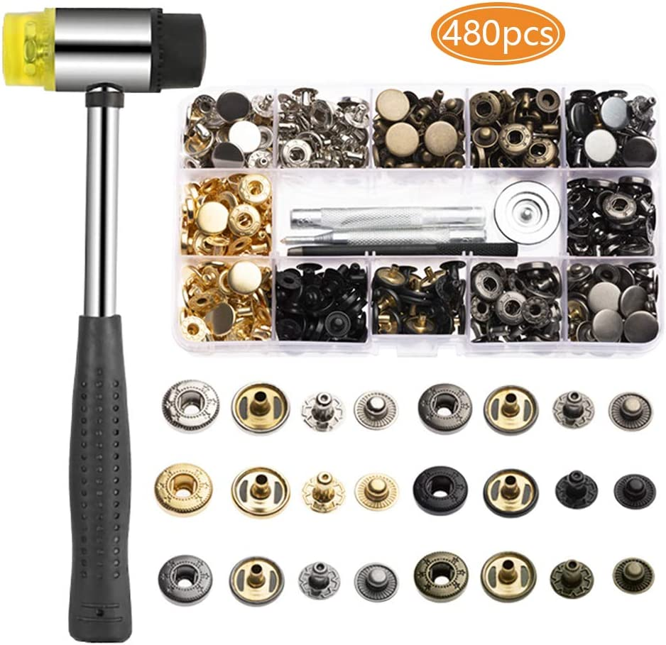 120pcs Bouton Pressions M/étal 4 Coloris TOPSEAS Boutons Pression 12mm + Marteau,pour Cuir Artisanat Veste Portefeuille Sac /à Main