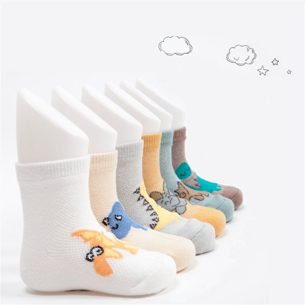 Suit Spring and Summer Combed Cotton Per 6 Pairs Unisex Baby Socks with Different Dinosaur Patterns