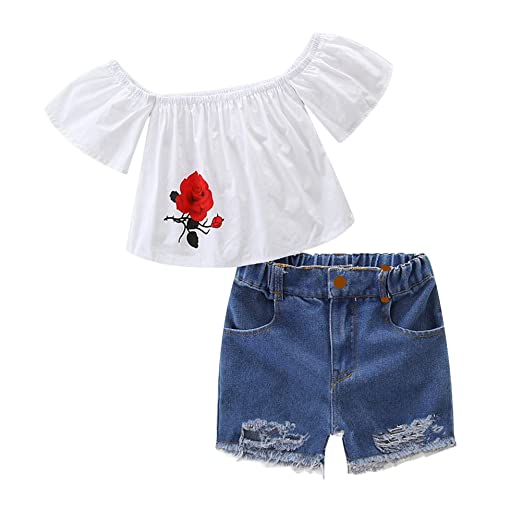 bc5c40e65e3f8 Verypoppa Baby Girls Off Shoulder T Shirt Ripped Shorts Outfits (2-3 Years)