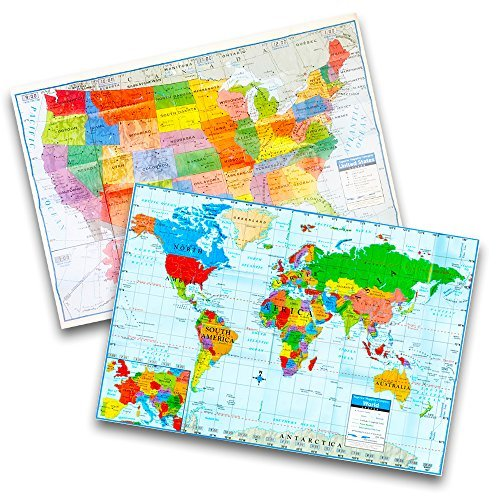"""Kappa Wall Map Set -- Giant United States and World Map Posters for Home/School/Office (2 Pack, 40""""x28"""")"""
