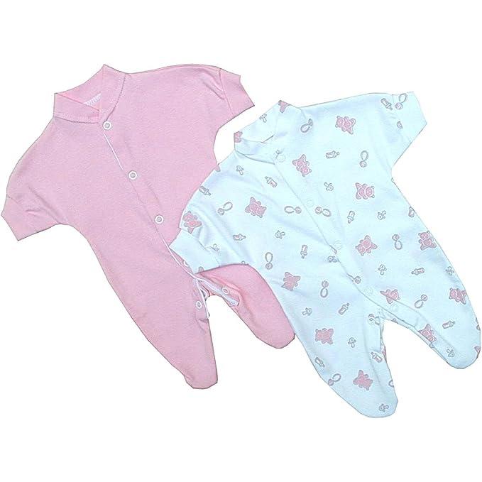 e65a77b3e BabyPrem Bebé Prematuro Conjunto 2 Pijama Mameluco Oso Ropa de Algodón Niñas  44-50cm ROSA