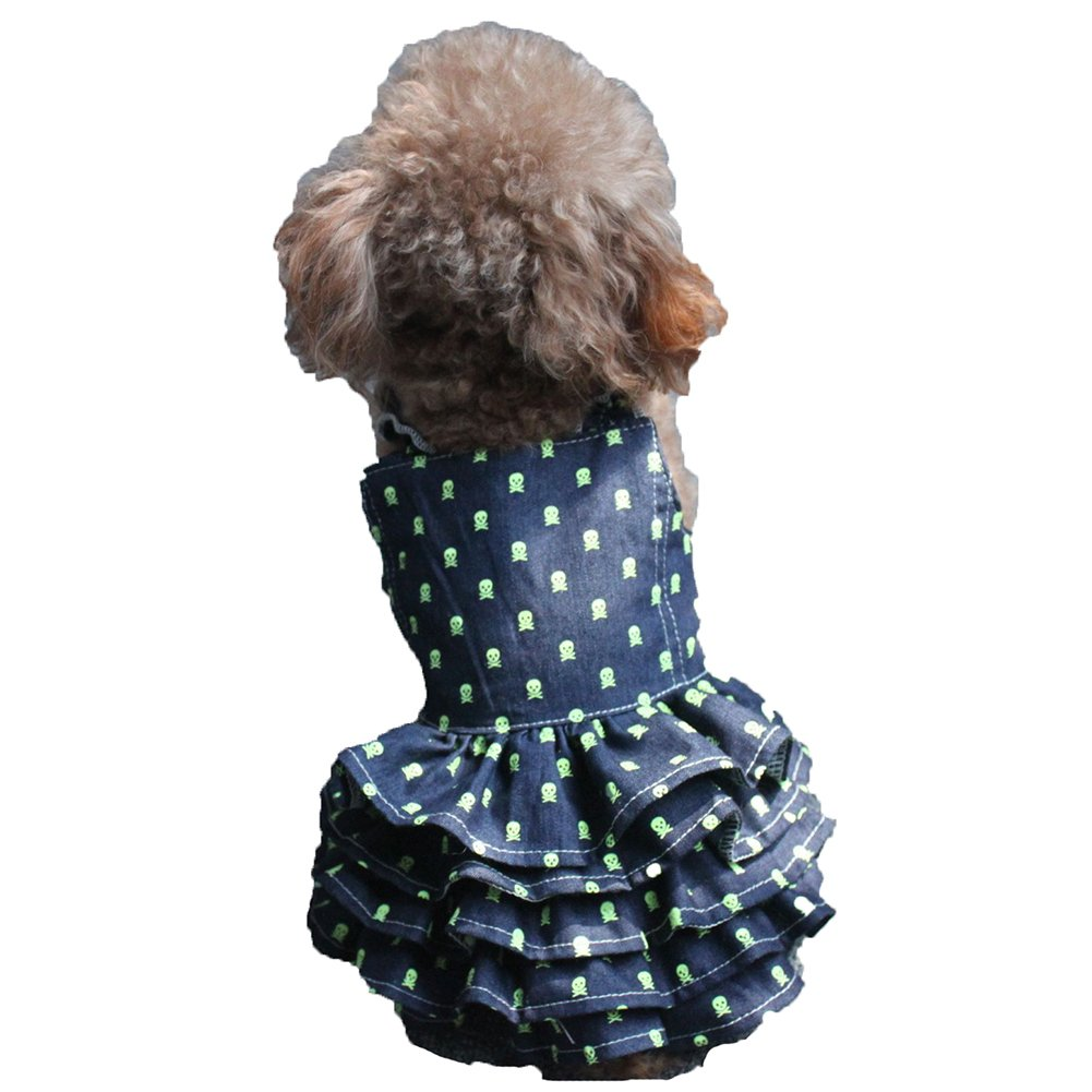 Small Dog Summer Dress , Tiny Pet Princess Dress Sleeveless Skirt Denim Dress Cat Puppy Wedding Clothes for Chihuahua Yorkshire (M)
