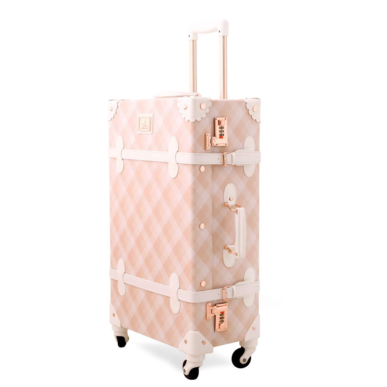 Unitravel Vintage Luggage Grid PU Leather Retro Suitcase Spinner Wheels Women