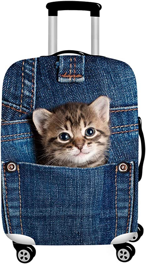4 Size Cat Bunny Is Under The Moon Printed Business Luggage Protector Travel Baggage Suitcase Cover
