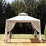 Grilland Outdoor Steel 10x10ft 2-Tier Gazebo with Mosquito Netting (khaki) For Sale