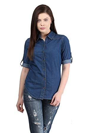 6e62b22e8 Trendy frog Women Long Sleeve Denim Shirt Top, Light Blue: Amazon.in ...