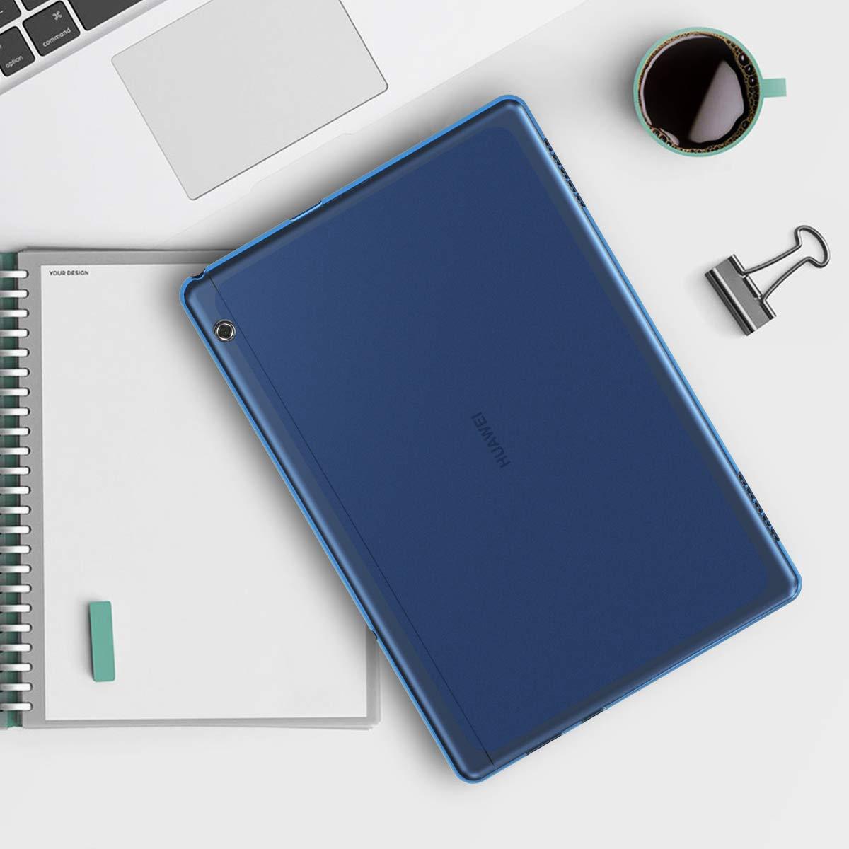 - Cover en Carcasa Trasera Silicona TPU kwmobile Funda para Huawei MediaPad T5 10 para Tablet de Rosa Fucsia//Azul//Transparente