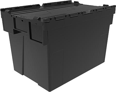 Contenedores de plástico, cajas completas con tapas de New Black Big, de 77 litros, largo de 600 x 400 de ancho x 400 mm de altura, caja de nido apilable Industrial: Amazon.es: