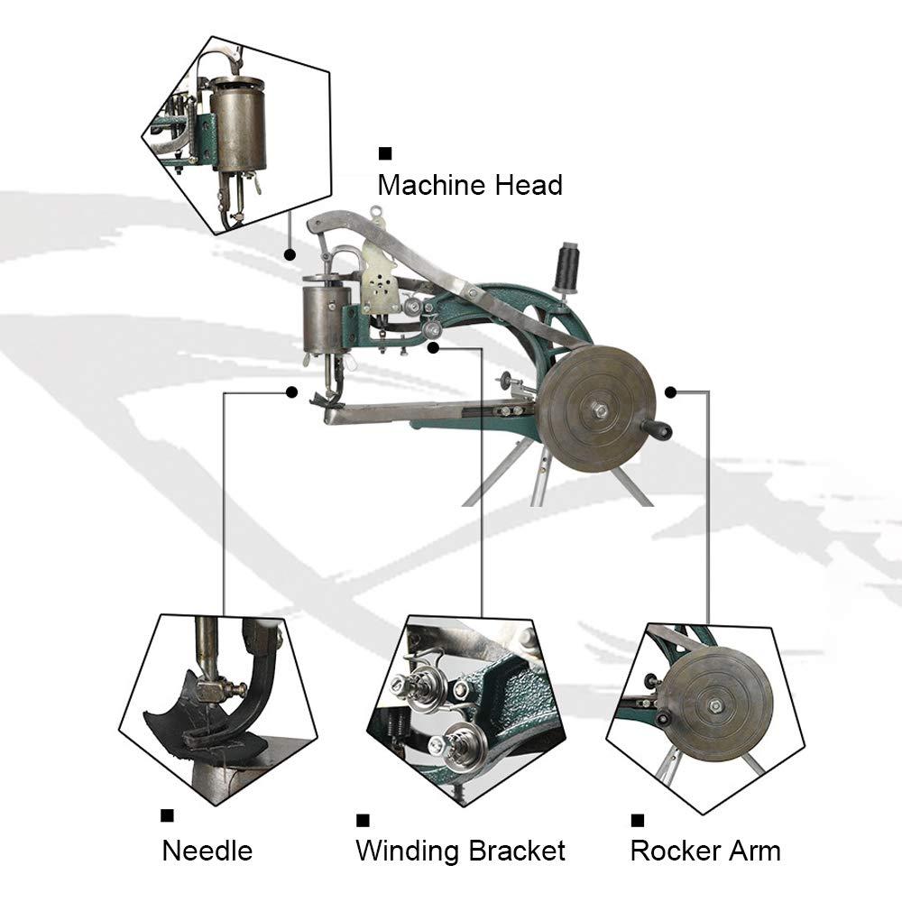 HUKOER Máquina de mano Zapatero zapatero Máquina de reparación de bricolaje Máquina de coser línea de nylon de algodón doble Herramientas hecho a mano ...