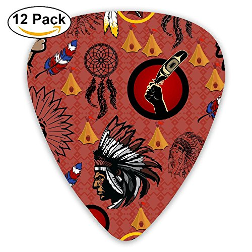 Black Pink American Indians Celluloid Guitar Accessories/parts Acoustic Guitar Picks 0.46mm 0.71mm 0.96mm Unisex 12 Packs