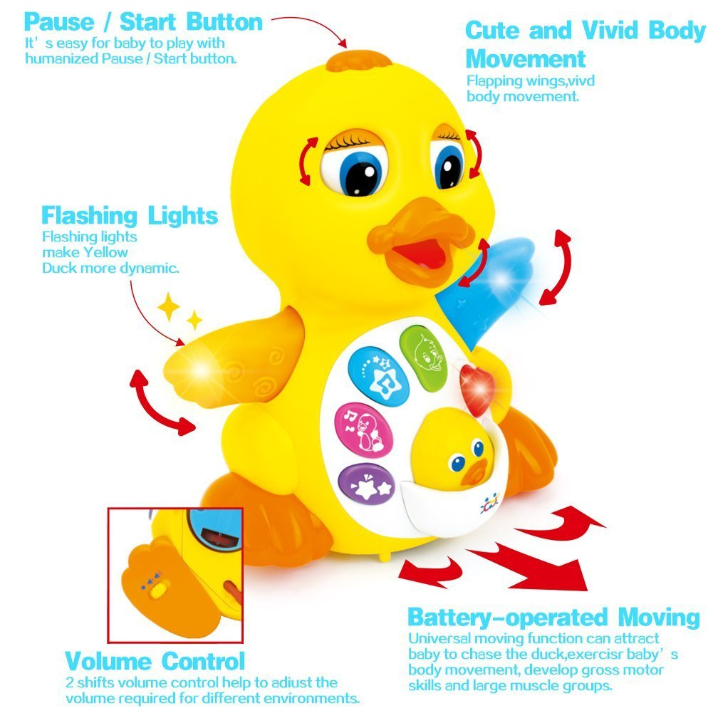 Toyk Kids Toys Musical Duck Toy Lights Action with Adjustable Sound - Toys for 1 2 3 Year Girls and Boys Kids or Toddlers by Toyk (Image #2)