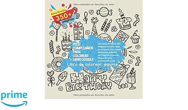Feliz cumpleaños para colorear libro Doodle. Libro de ...