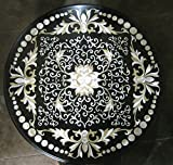 Sofa Table Top 30'' Round Black Marble Mother of Pearl Stones Inlay Unique Luxury Design