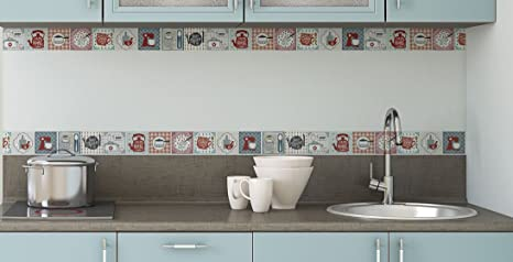 KITCHEN Decorative Border Tile Stickers Set 6 Units 1.5 Feet Long Each.  Peel U0026 Stick