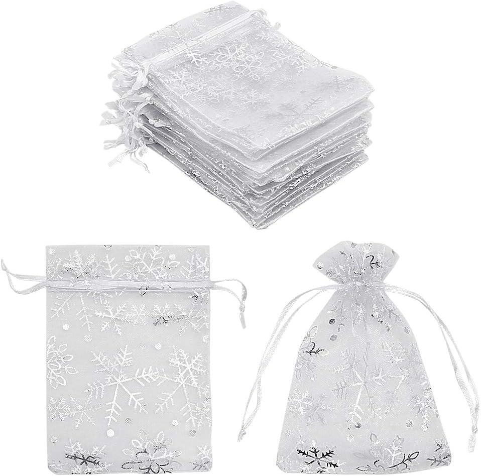 100 bolsas de regalo de organza de copo de nieve blanco 9 x 12 cm, pequeñas bolsas de malla blanca para joyas pequeñas bolsas de caramelos para Navidad