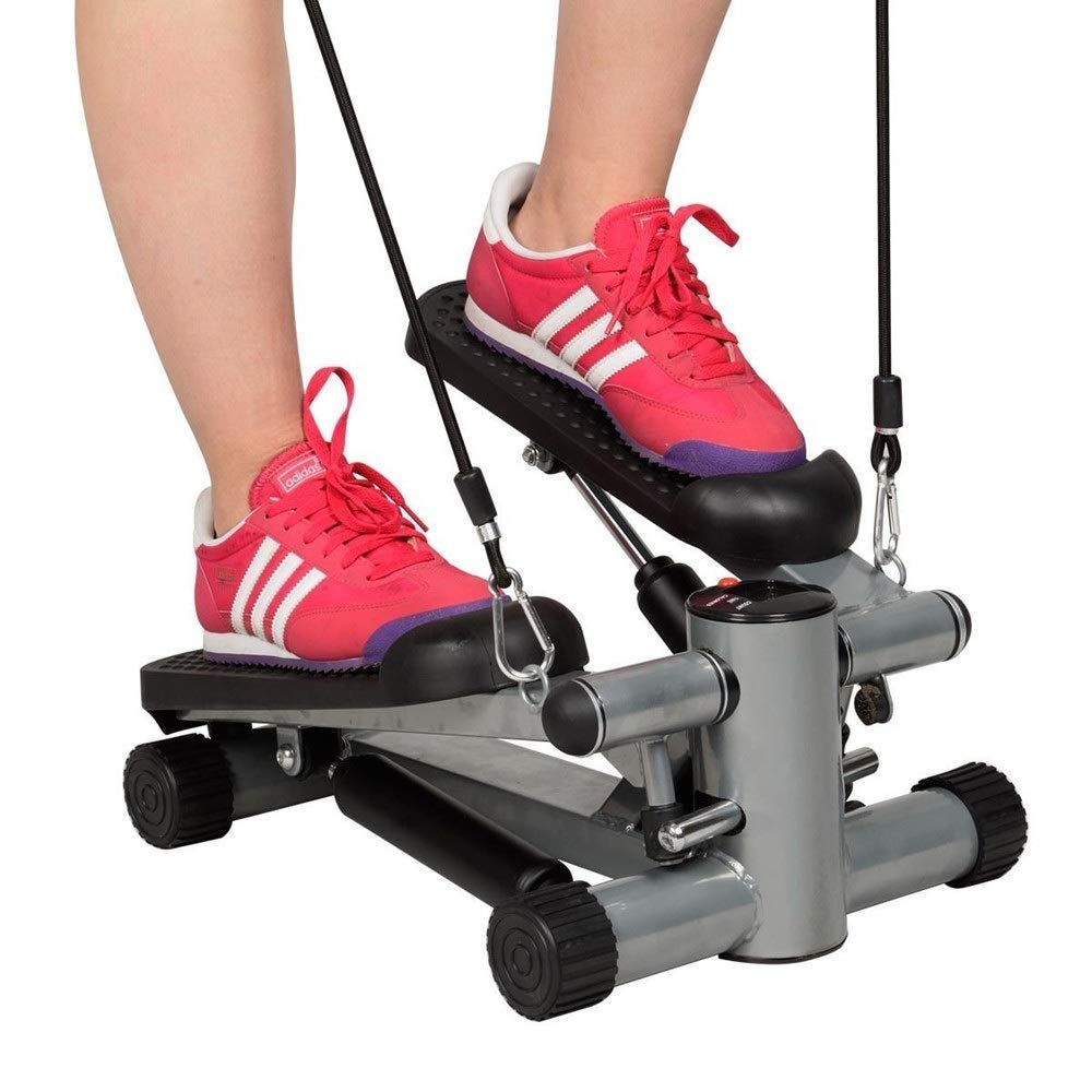 Steppers,Magnetic Elliptical Machine Trainer Aerobic Exercise Home Mini Weight Loss Foot Massage, Small Stepper Swing Machine Ropes Fitness Workout (Color : Black) by Stepping machine (Image #3)