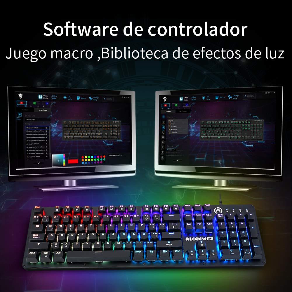 Teclado Mecánico Gaming Retroiluminación RGB LED Switches Blue Óptico Impermeable IP68 104 Keys Anti-Ghosting Mechanical Keyboard Interruptor Óptico con ...