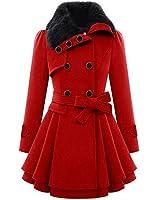 CRAVOG Women Faux Fur Lapel Double-Breasted Thick Slim Wool Coat