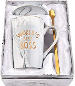 Worlds Best Boss Mug The Office Boss Mug Best Boss Gifts for Men Best Gifts for Boss Men Office Coworkers Gag Men Friends 14Oz with Exquisite Box Packing Spoon Coaster