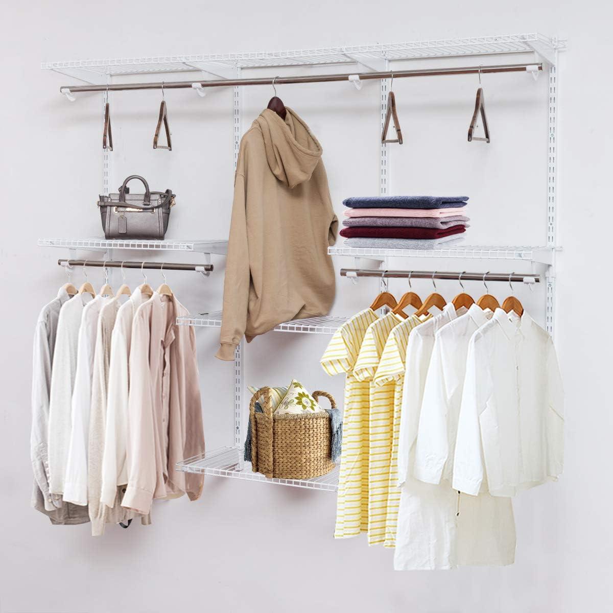Moccha Custom Closet Organizer System, Wall Mounted Closet System with Hanging Rod, Metal Hanging Storage Organizer Rack Wardrobe with Shelves, Adjustable Closet Organizer Kit for Bedroom, White