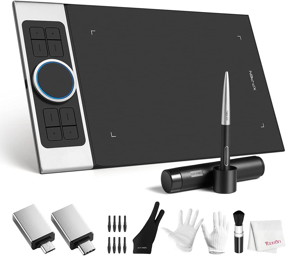XP-PEN Deco Pro Medium Drawing Tablet, 11x6 Inch Ultrathin Graphics Tablet with Tilt Function, 8 Shortcut Keys, Battery-Free Stylus 8192 Pen Pressure, for Windows 10/8/7, Mac OS, Android 6.0